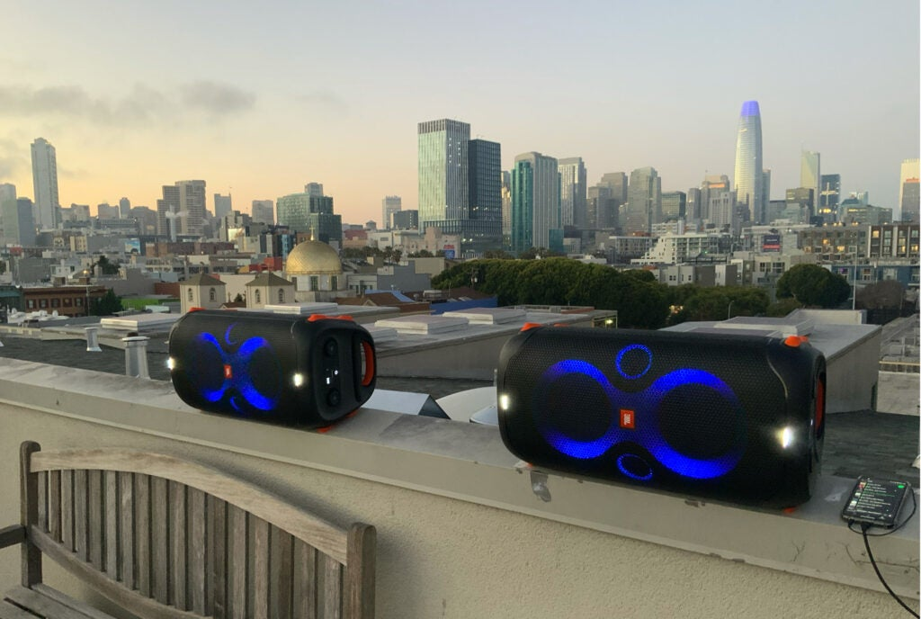 JBL PartyBox 110 on a rooftop