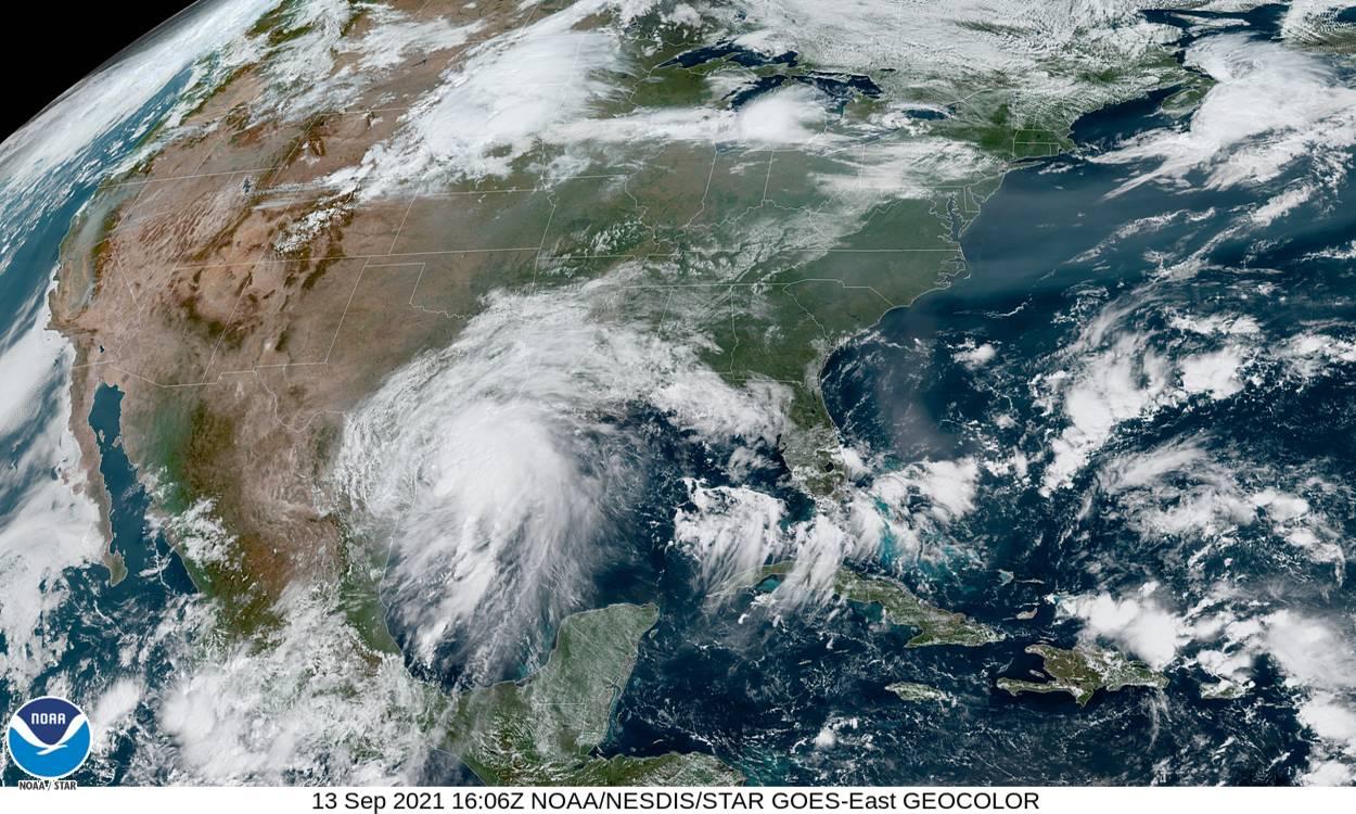 A satellite image of Tropical Storm Nicholas moving towards coastal Texas and Louisiana.
