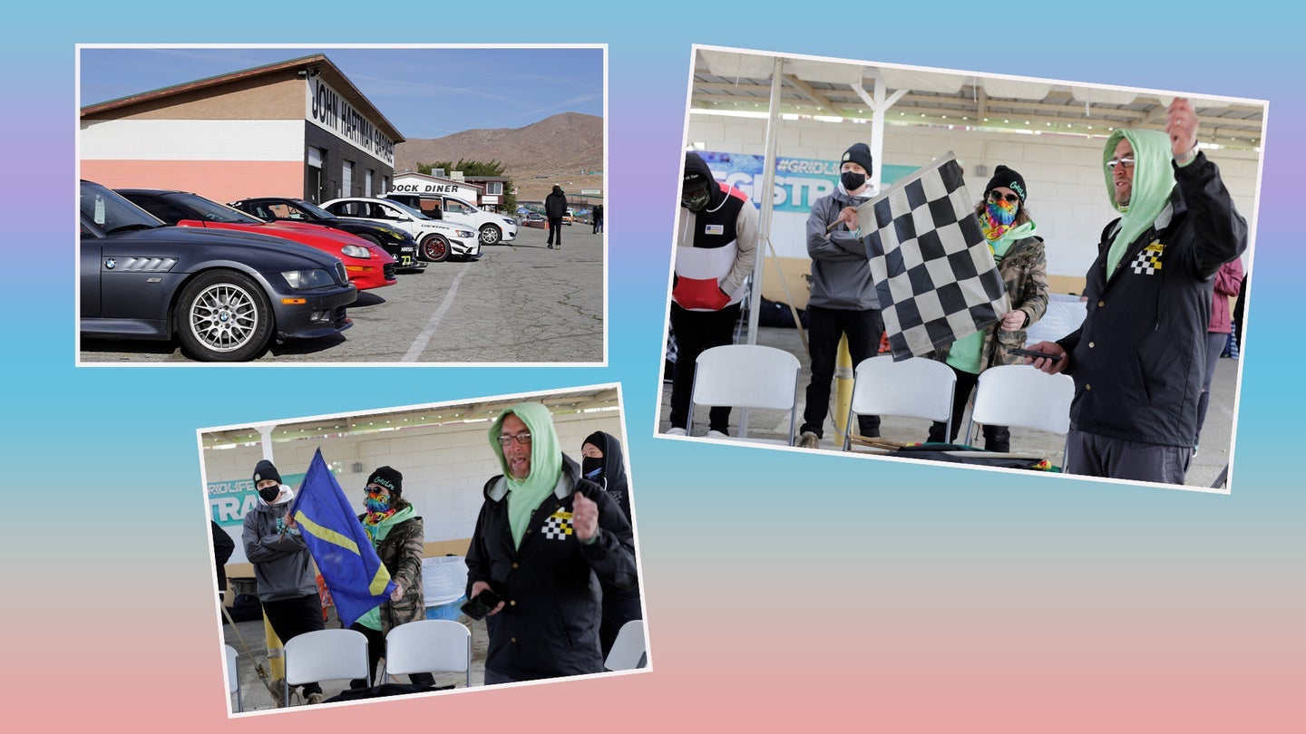 Drivers going through flag training at a race course on a light pink and blue backgroundand