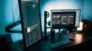 Desktop setup with vertical monitor