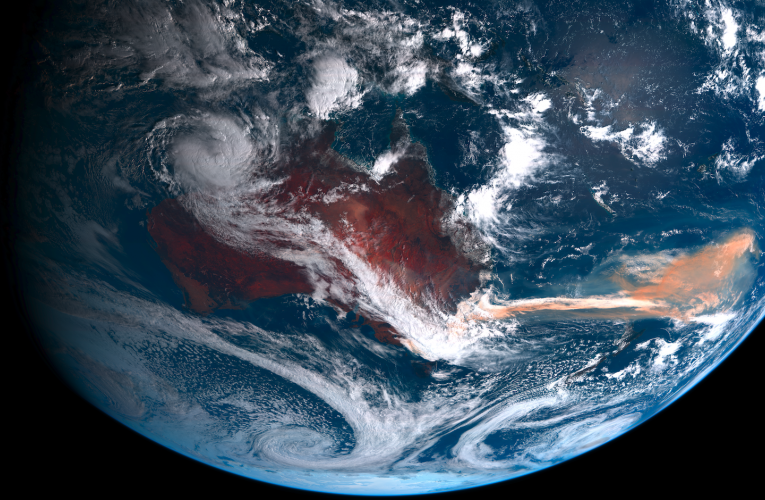 satellite image of smoke from the australian wildfires