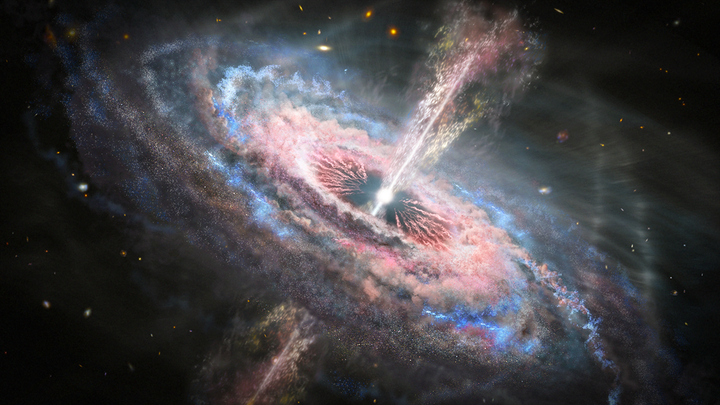 An illustration of a quasar in space, blinding light that shoots out top and bottom, with matter swirling around perpendicularly.