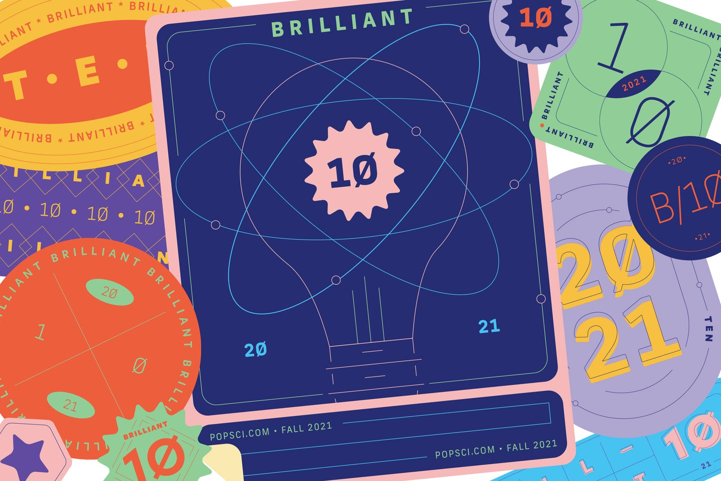 a page full of illustrated badges and awards for the Brilliant 10 scientist series