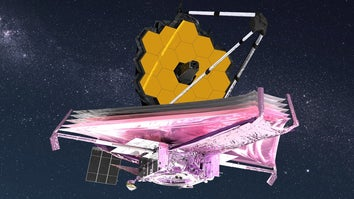 James Webb telescope traveling through space on a pink foil craft
