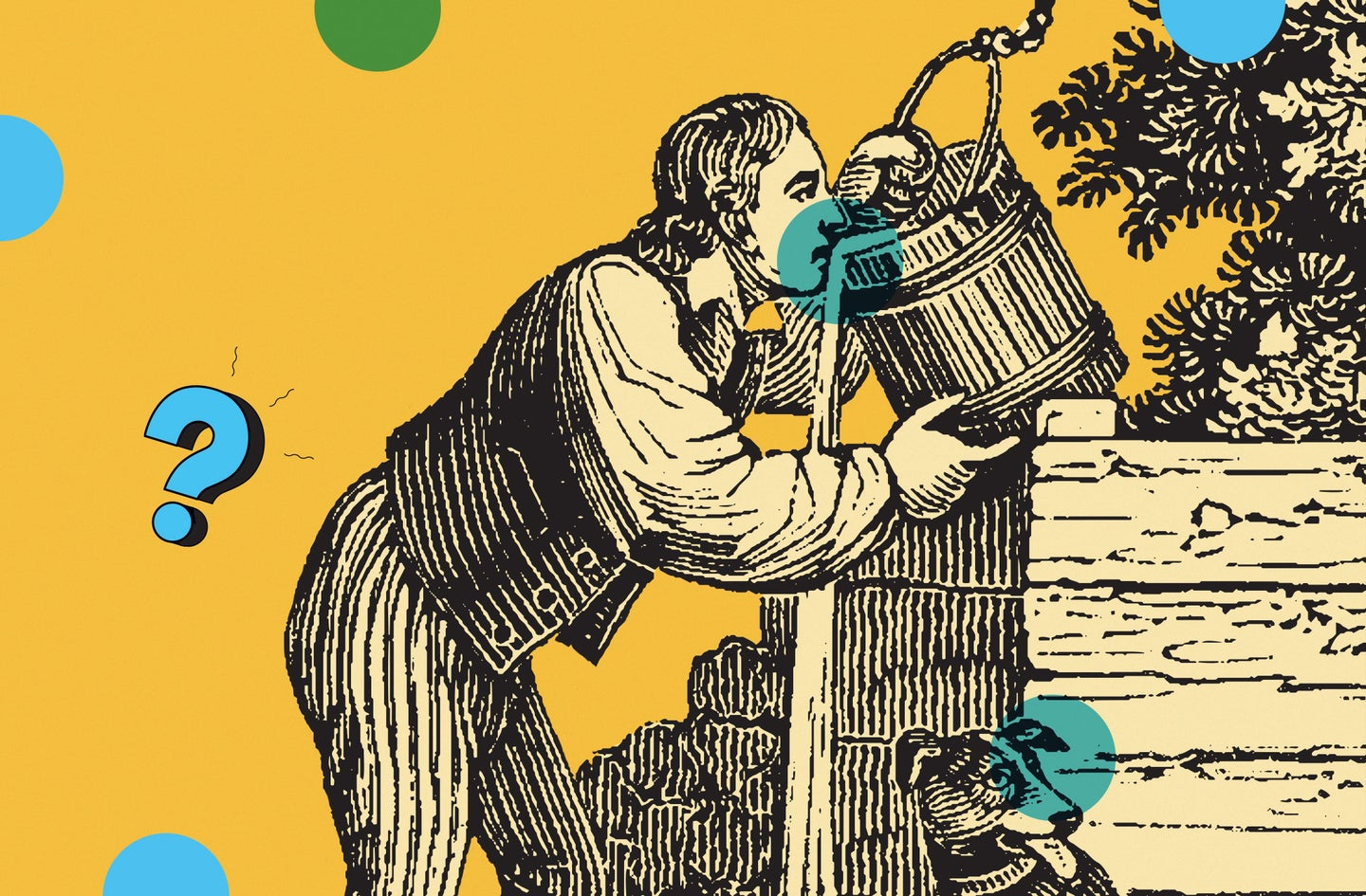 art illustration of a person drinking from a bucket.