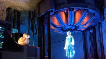 Rey Skywalker and BB8 hologram at Disneyworld