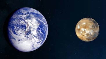 An illustration of Earth next to Mars, comparing sizes. Earth is bigger.