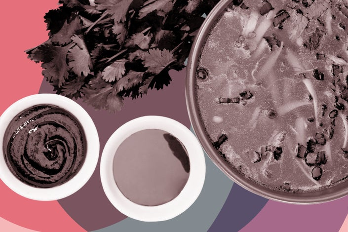Soy sauce, cilantro, broth, and other umami foods on a pink and purple background