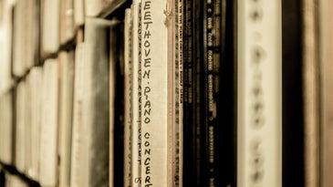 Beethoven piano sheet music on a shelf