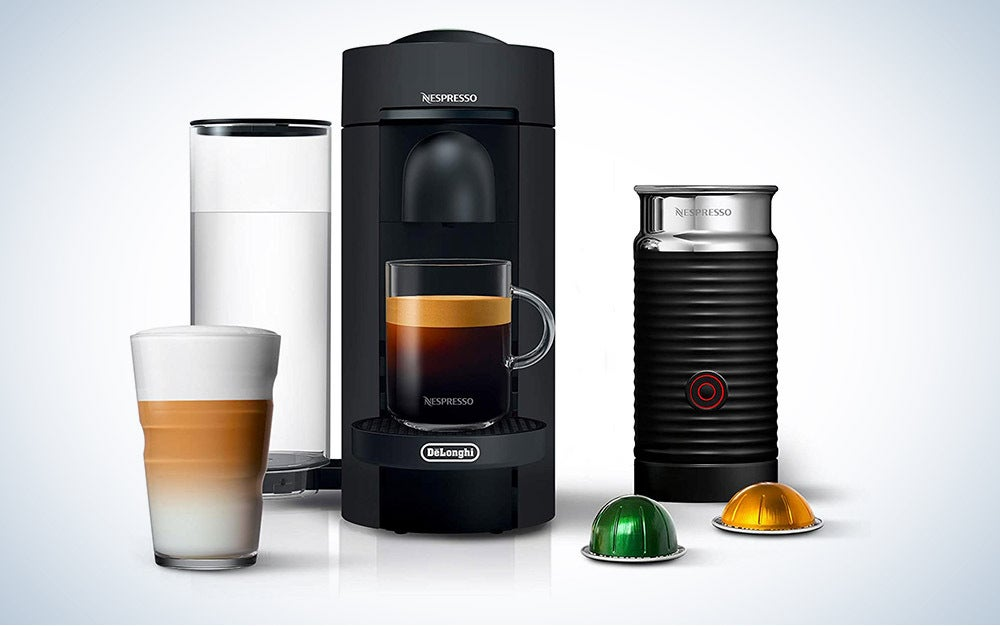 Nespresso Vertuo Plus by De'Longhi is the best pod coffee maker with a frother.