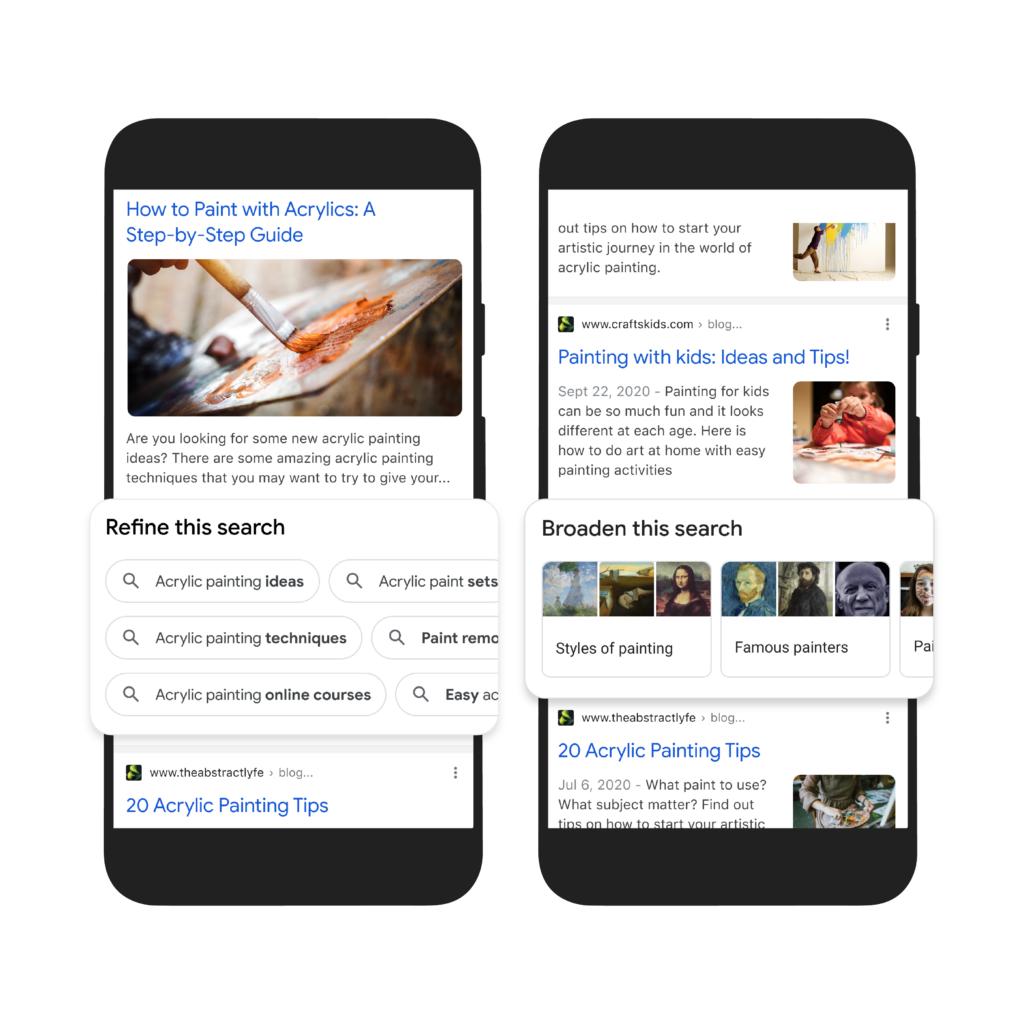 Google search new features broaden refine