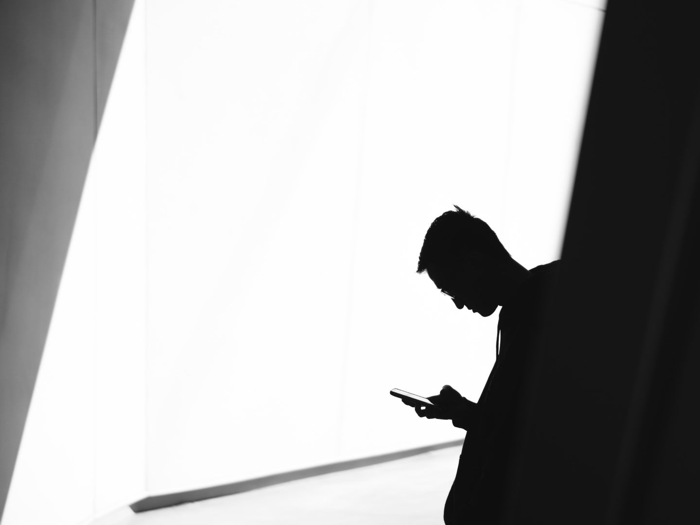 A person in silhouette using their phone.