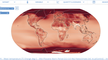 The IPCC AR6 Working Group I Interactive Atlas with red paleoclimate map