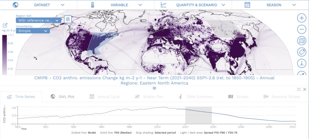The IPCC AR6 Working Group I Interactive Atlas with purple carbon emissions map