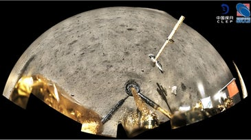 A wide-angle picture of the surface of the moon from the perspective of a lander spacecraft.