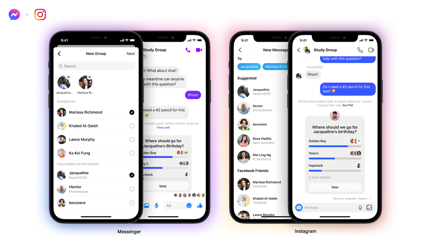 group chats now available across Instagram and Messenger.