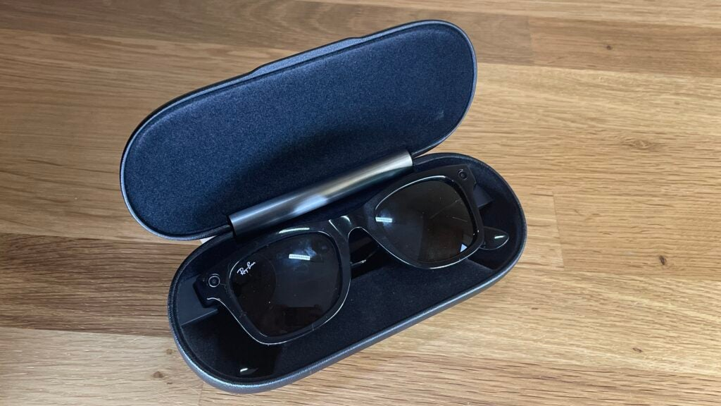 Ray-Ban Stories folded in a hard case