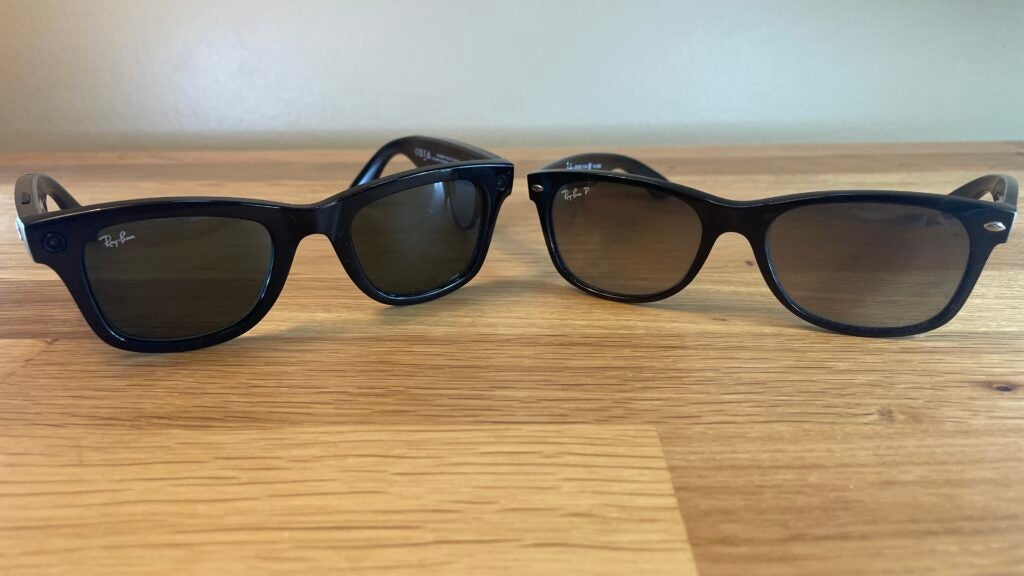 Ray-Ban Stories next to Ray-Ban Wayfarer glasses.