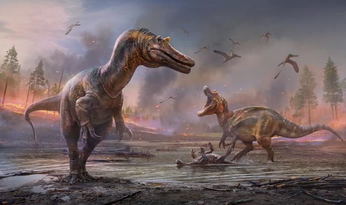 Two large dinosaurs roam a dusky background.