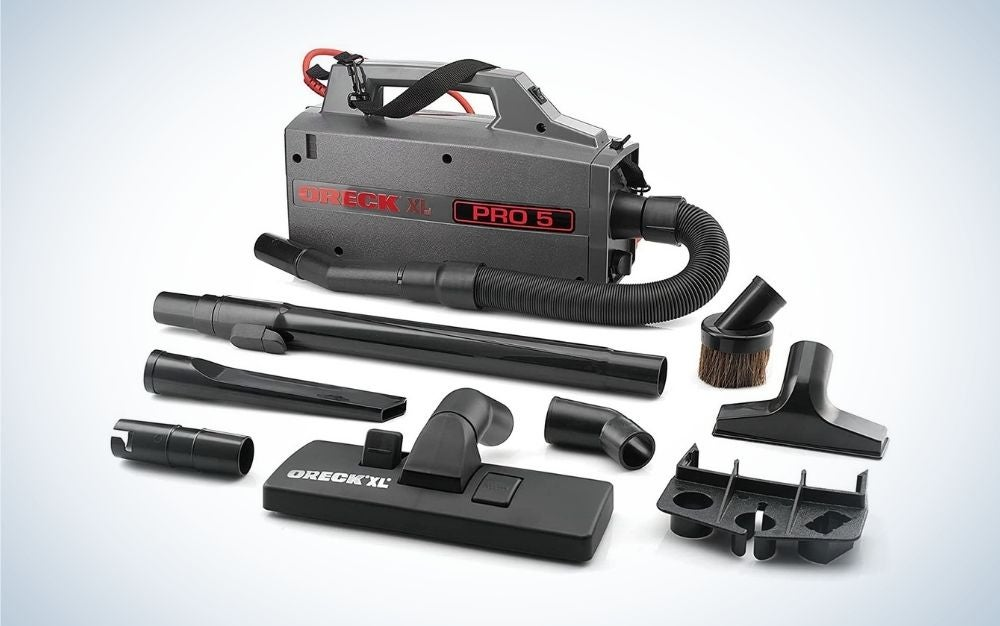 The Oreck Commercial XL Pro 5 Super Compact Canister is the best canister vacuum for attachments.