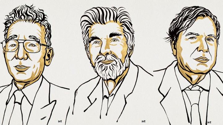 Illustrations of Syukuro Manabe, Klaus Hasselmann, and Giorgio Parisi.