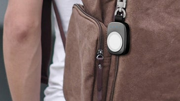 apple tag on a bag
