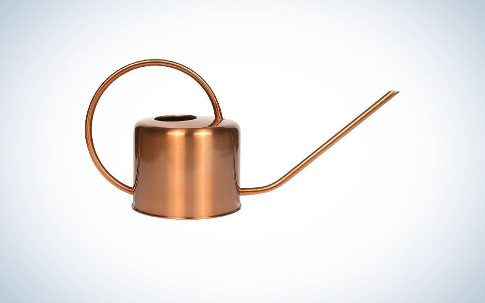 The Homarden 40 oz Copper Colored Watering Can is best watering can for hanging baskets.