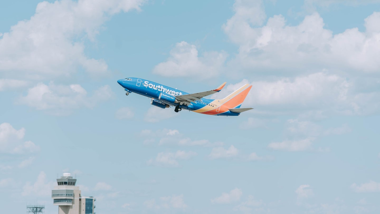 Airplane from Southwest Airlines flying in sky