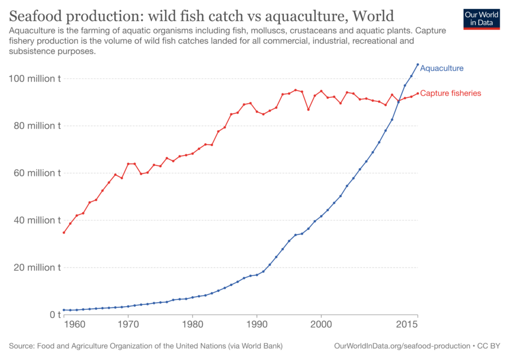 Wild fish catch vs. aquaculture volume produced across the world from 1960 to 2015 on a red and blue line graph