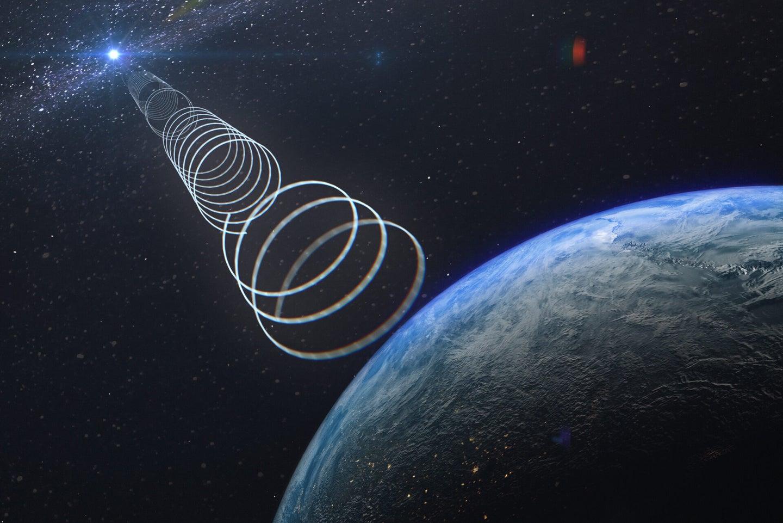 illustration of a radio signal beaming towards earth