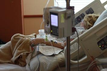 women in hospital bed