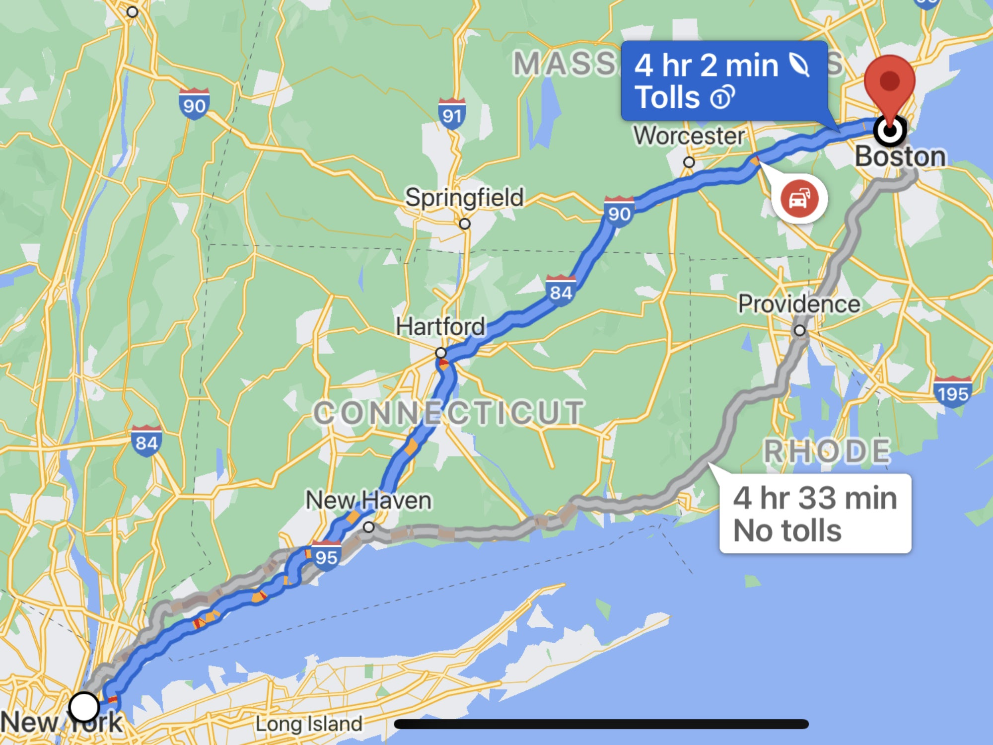 Google Maps showing an eco-friendly route from New York City to Boston.