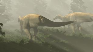Prosauropod Triassic dinosaur in a digital rendition