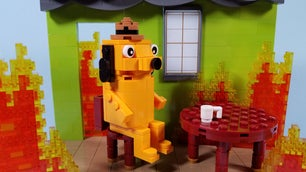 Lego construction of house on fire meme