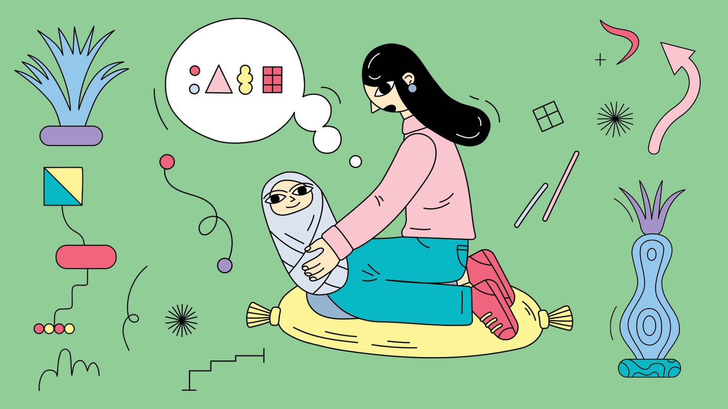 Parent and child engaging in baby talk and language development in a cartoon