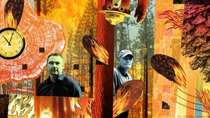 Fire managers, wildfire patches in forests, and illustrated flames from prescribed burns and a compass