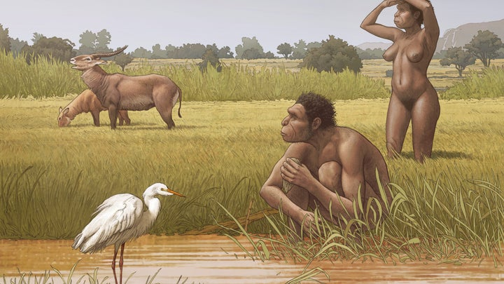 an illustration of two human ancestors in africa